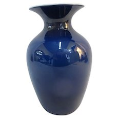 IMPERIAL Cobalt Blue with GOLD Interior Glass Freehand Vase