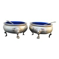 STERLING Silver Amston 415 Open SALT BOWL Pair Cobalt Liners Spoons LION Feet