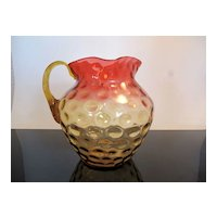 Victorian Amberina Thumbprint Art Glass Pitcher