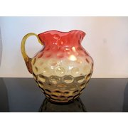 Victorian Amberina Thumbprint Art Glass Pitcher