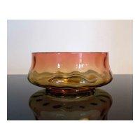 Antique Amberina Art Glass Thumbprint Bowl