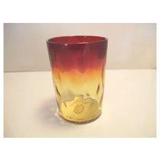 Vintage Amberina Thumbprint Tumbler Art Glass