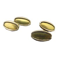 Classic Style TIFFANY & Co 14k Yellow Gold Oval Oblong Cufflinks
