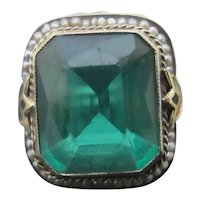 Antique Chunky 14k White Gold FILIGREE Floral GREEN Glass Seed PEARL Ring Size 5