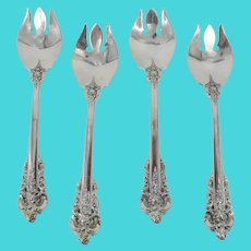 "Wallace GRANDE BAROQUE Sterling Silver 5.5"" ICE CREAM Fork Spoon Spork Set of 4"