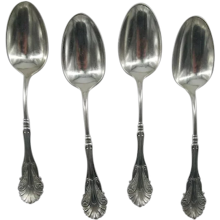 """Antique Sterling Silver J B MAYO 7"""" Tablespoon 4pc Feather and Flower Design"""