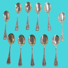 BAILEY Binks & BIDDLE Sterling Silver Fine Floral Etched LOUVRE Spoon Set of 11