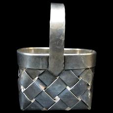 CARTIER Handwoven STERLING Silver Miniature BASKET Trinket Box