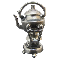 Mexico STERLING Silver MINIATURE Dollhouse TEAPOT Over Warmer with Lid