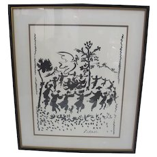 Framed Pablo PICASSO Black and White DANCE of YOUTH Lithograph