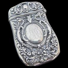 Antique ART NOUVEAU Sterling Silver REPOUSSE Match Safe Case