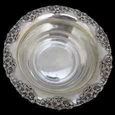 "Shreve & Co STERLING Silver Repousse BLOSSOM Design 10"" Fruit Bowl JM Mono"