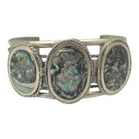 Vintage Sterling Mexican Silver and Abalone Cuff Bracelet