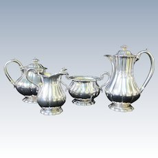English STERLING Silver London 1913 Melon Ribbed COFFEE Tea Sugar Cream Set