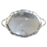 English SHEFFIELD Silver Plated Serving TRAY Platter Hand Chased w/Coat of Arms