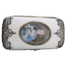 Antique c1875 VICTORIAN Hand Painted w/Lady Portrait STERLING & Bone Cigar Case