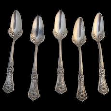 Antique W M ROGERS Blossom Design Silver Plate CITRUS Spoon Set of 5