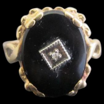 Antique Romany Black ONYX 14k Yellow GOLD Ring w/Miniature Diamond ~ Very Sweet