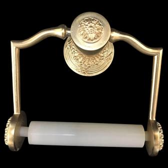 Vintage SHERLE WAGNER Ribbon & Reed GOLD LEAF Toilet Paper Holder