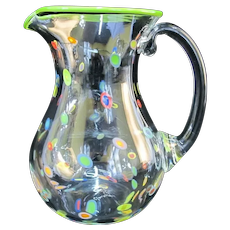 CLANCY Designs Hand-blown Glass SUPERFRUIT Colorful Dot Water Spirits PITCHER