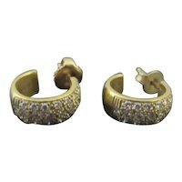 ELEGANT 14k Yellow Gold & Sparkly DIAMOND Hoop Earrings