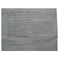 Signed JOHN HANCOCK Officers Commision for MASSACHUSETTS Militia 1791
