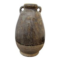 Thai SAWANKHALOK 13th Cenutry Pottery BOTTLE Vase Jar with Double Handles