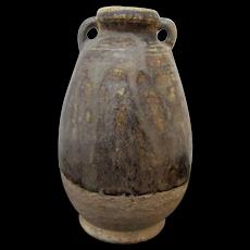 Thai SAWANKHALOK 13th Cenutry Pottery BOTTLE Vase Jar with Double Handles