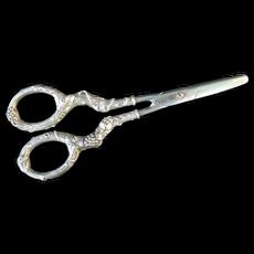 Antique Germany STERLING Silver Ornate Repousse GRAPE Vine Scissors SHEARS