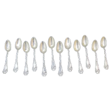 Antique WALLACE Sterling Silver RIBBONS & BOWS Demitasse 12pc Spoon POLLY Mono