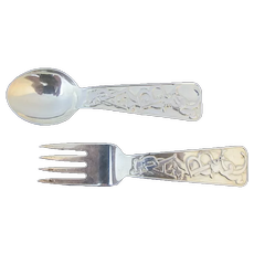 TIFFANY & Co Sterling Silver ABC Bears BABY Spoon & Fork 2pc Set
