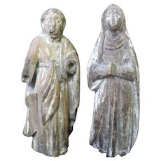 Antique SPANISH Colonial Wood MARY & JOSEPH Religious Spiritual Figurines