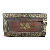 Antique Wood VANITY Jewelry Box Glass w/ STERLING Silver Jars & Key BETTY Mono