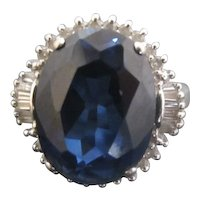 Large Blue Synthetic Sapphire and Diamonds 14k White Gold Ring