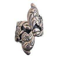 TAXCO Sterling Silver F PICHARDO Clamper Cuff Bangle Bracelet BIRDS & REPTILES