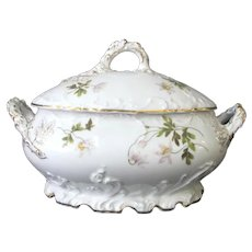 ROSENTHAL Louis XIV Large Hand Painted Floral Gold Gilt Soup TUREEN w/Lid