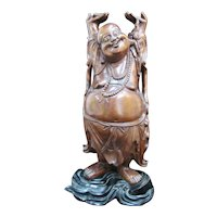"""Carved Wood 17 1/2"""" Jolly Laughing BUDDHA Hotai Hands Up Statue on Stand"""