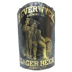 Beverwyck Brewing 19thc ADVERTISING Tavern SIGN King Gambrinus Albany NY