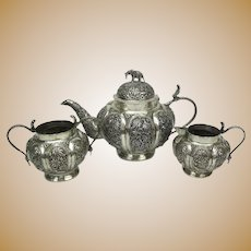 Antique Colonial ANGLO-INDIAN Hand Wrought .800 Fine Silver JUNGLE Motif TEA Set