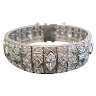 One of a Kind Emerald and Diamond Art Deco Platinum Bracelet