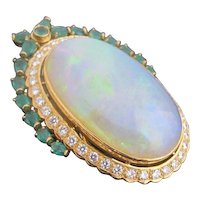 Incredible ART DECO 18k Gold 57ct  Opal Emerald & Diamond Brooch Pin or Pendant