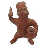 Large Mayan Pre Columbian Clay Man Figure with Tool and Bowl