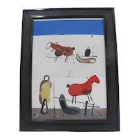 VLADIMIR KOMPANEK Slovak Framed Abstract Modern Art HORSE Figural Oil Painting