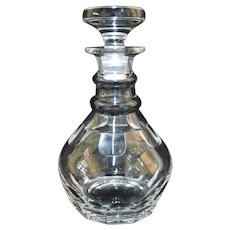 Antique 19th Century Thick Cut Glass Bow Belly SPIRITS Booze Decanter