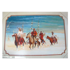 "Acrylic Painting on Paper Framed Native American Art by Gale Running Wolf ""Hunting Party"""