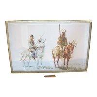 """Watercolor Painting of 2 Indians on Horses """"Piegan Dandies"""" by Frank Hagel"""