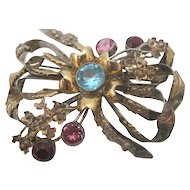 Hobe Sterling Silver Vintage Bow Brooch with Colorful Rhinestones