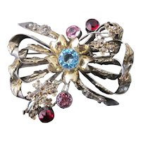 STERLING Silver & 14k Gold Vintage HOBE Bow Brooch Pin w/ Colorful Rhinestones