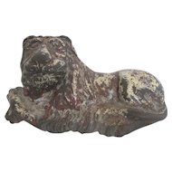 Old English 19th Century Large Cast Iron Lion Door Stop