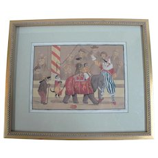 Regency Era English Circus Animals & Clown Original Watercolor Painting